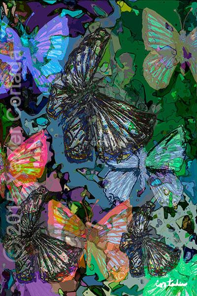 "Xavier Cortada, \""(Florida is…) Miami Blue Butterflies,\"" archival ink on aluminum, 60\″ x 40\″,2015."