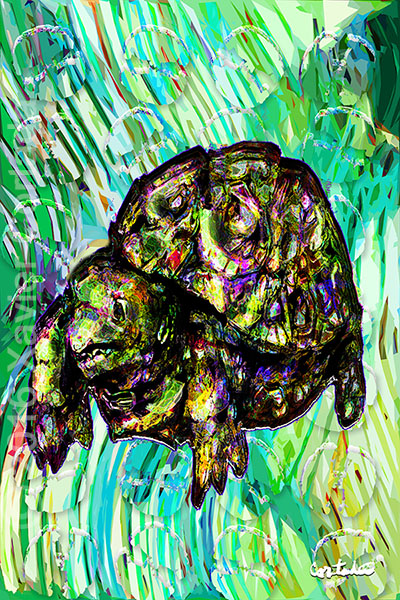 "Xavier Cortada, \""(Florida is…) Gopher tortoises,\"" archival ink on aluminum, 60\″ x 40\"", 2016"