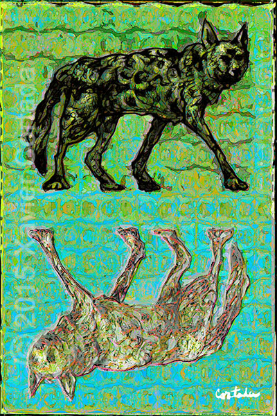 """Xavier Cortada, \""""(Florida is…) Red Wolves,\"""" archival ink on aluminum, 60\″ x 40\″, 2015."""